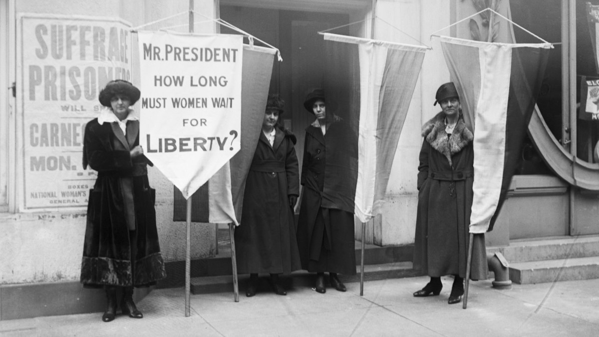 Suffragists (L-R) Ella C. Thompson, Alex Shields, Alice Paul, and Wilma Keams, picketing outside the Metropolitan Opera House circa 1919.