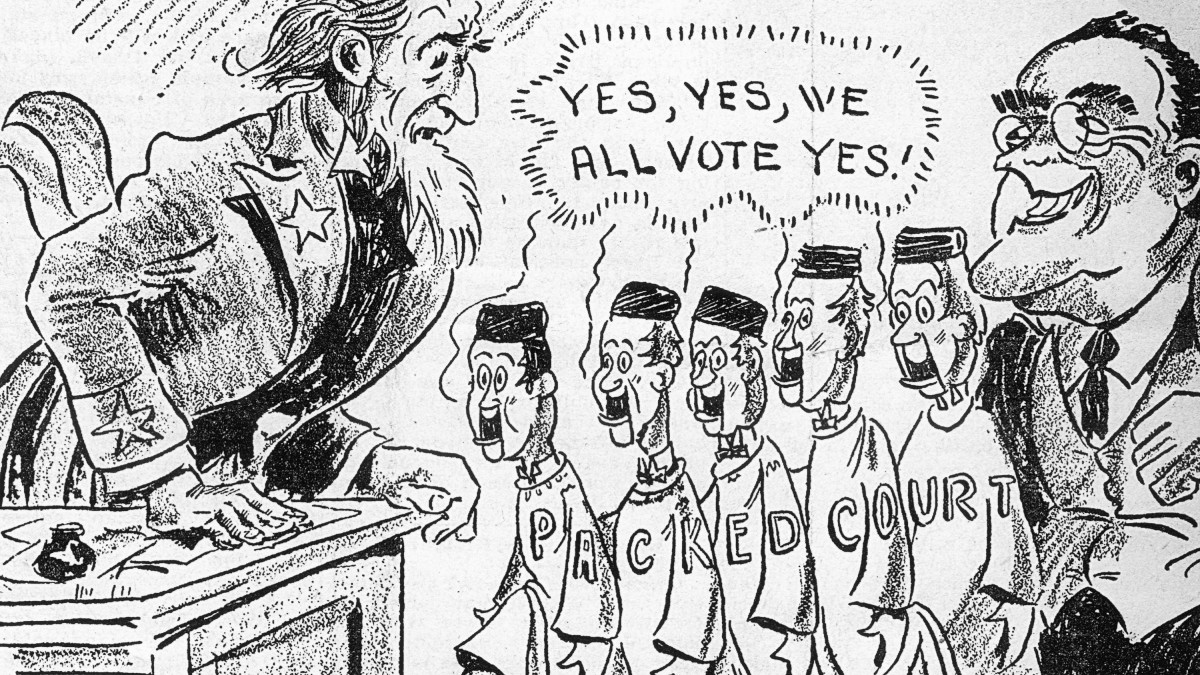 A political cartoon criticizing FDR's judge selection