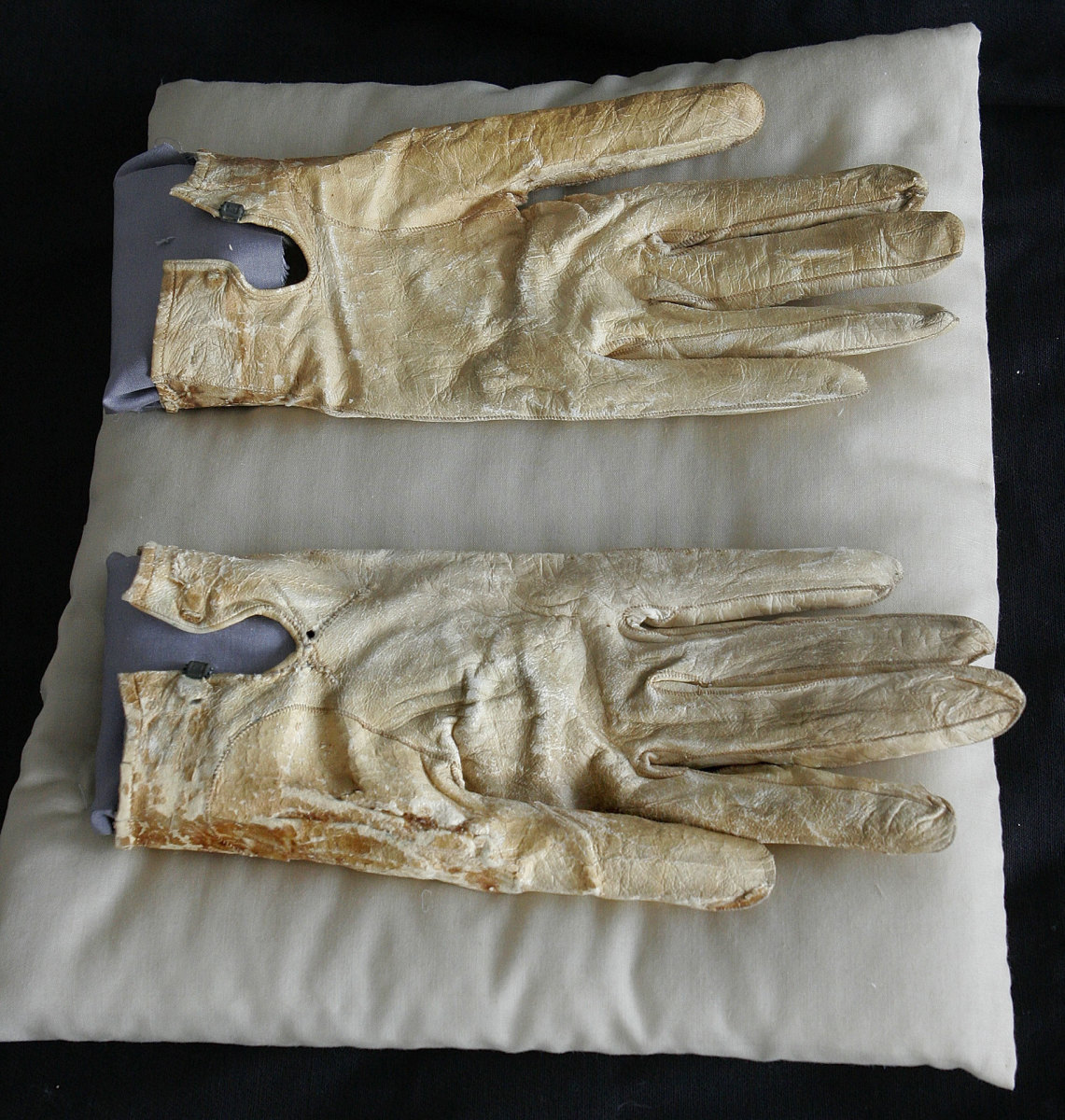 Abraham Lincoln's bloodstained gloves he carried on the night of his death at the Abraham Lincoln Presidential Library and Museum in Springfield, Illinois.