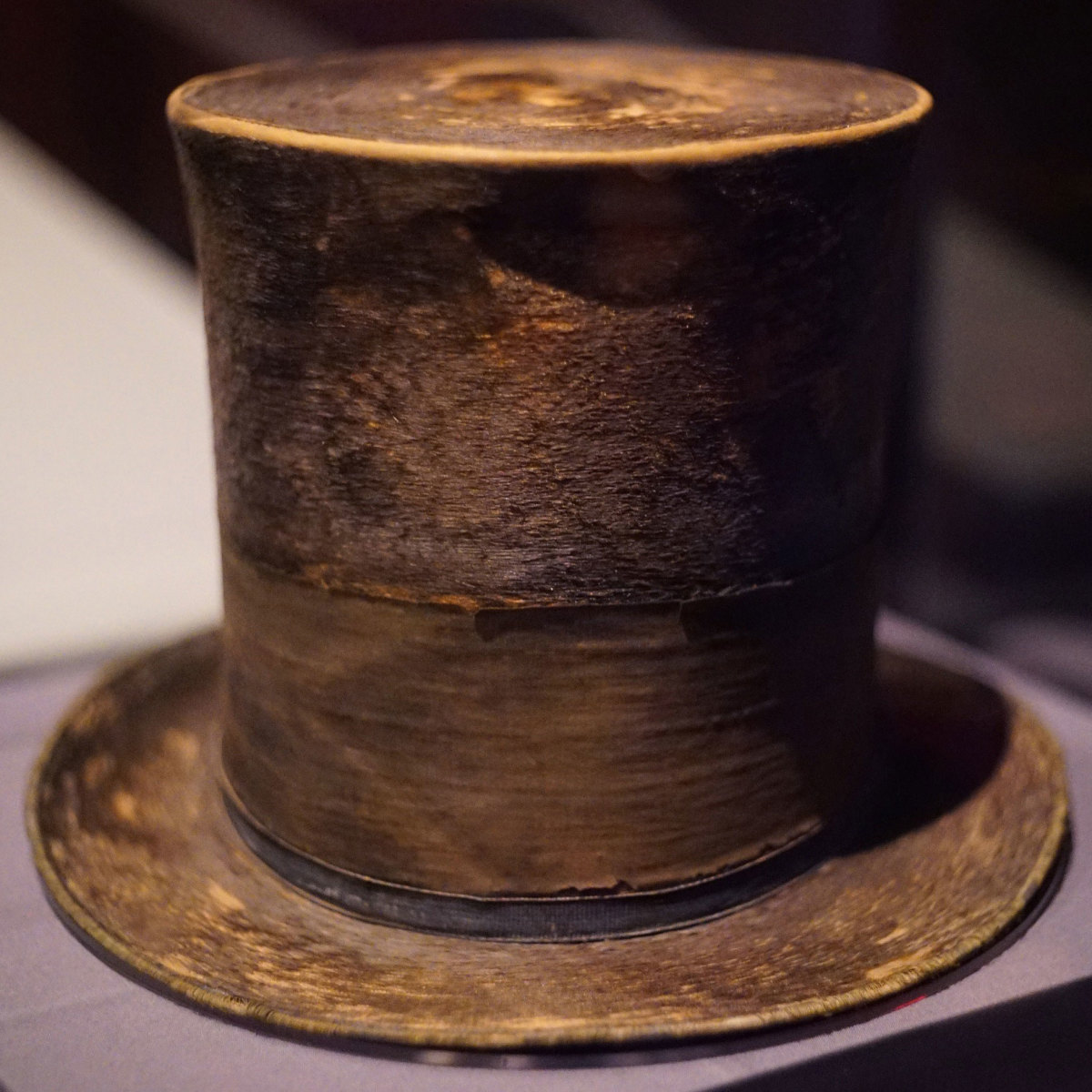 Abraham Lincoln's top hat, worn the night of his assassination, seen at the Ford's Theatre Center for Education and Leadership in Washington, D.C., 2015.