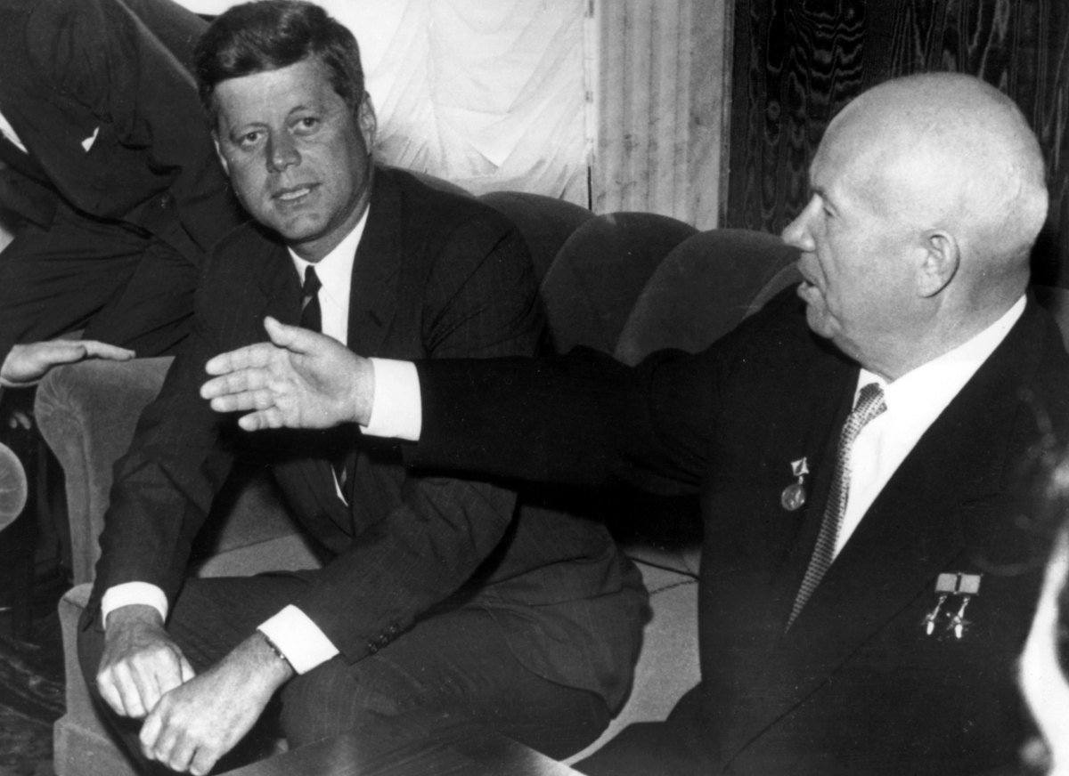 Khrushchev with President Kennedy at the U.S. Embassy during their summit meeting in Vienna, 1961.