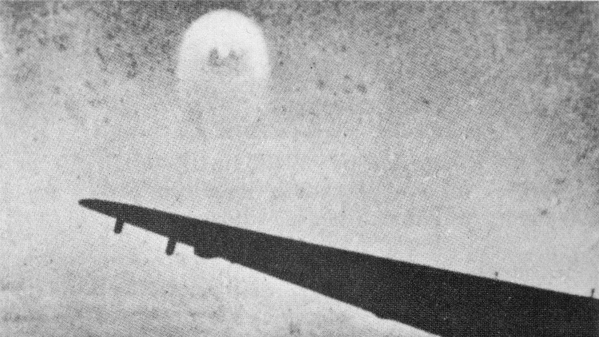 This photo is said to show a 'foo-fighter' observed by a German pilot in May 1945, near Karnten, Germany.