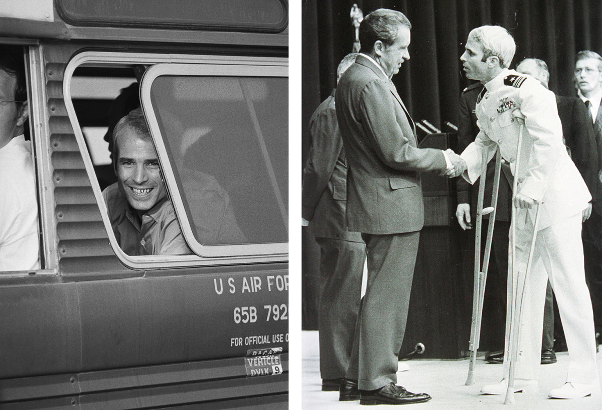Navy Lieutenant Commander John McCain arrived at Clark Air Base in the Philippines, after his release from Hanoi during the Vietnam War in 1973. Richard Nixon personally welcomed him home after McCain's five and a half years as a P.O.W.