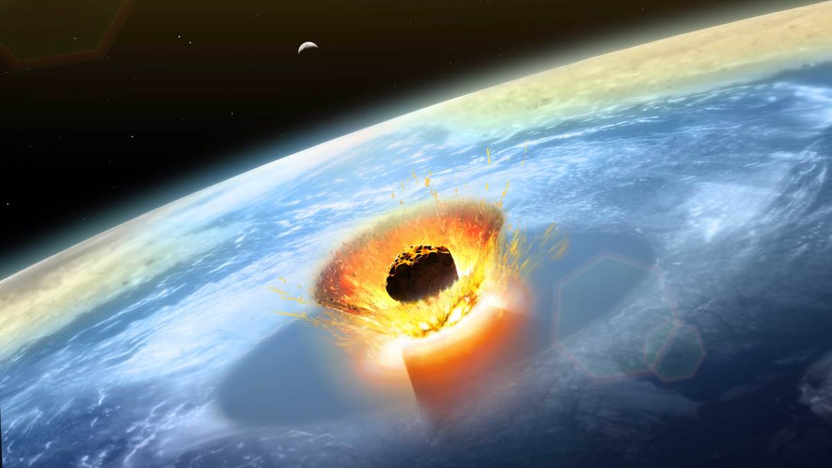 A large asteroid that collided with Earth on the Yucatan Peninsula, now in modern-day Mexico, formed the Chicxulub crater and possibly caused the extinction of the dinosaurs.