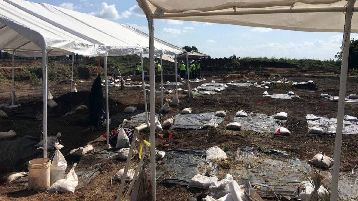 The historic cemetery uncovered during construction of a new school in Sugar Land, Texas.