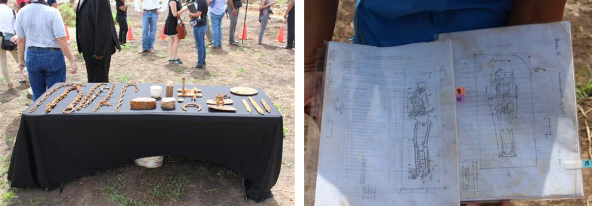 Artifacts and sketches of the remains exhumed from the historic cemetery.