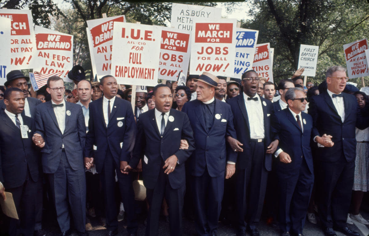 Martin Luther King Jr. and other leaders of the March on Washington in August 1963.
