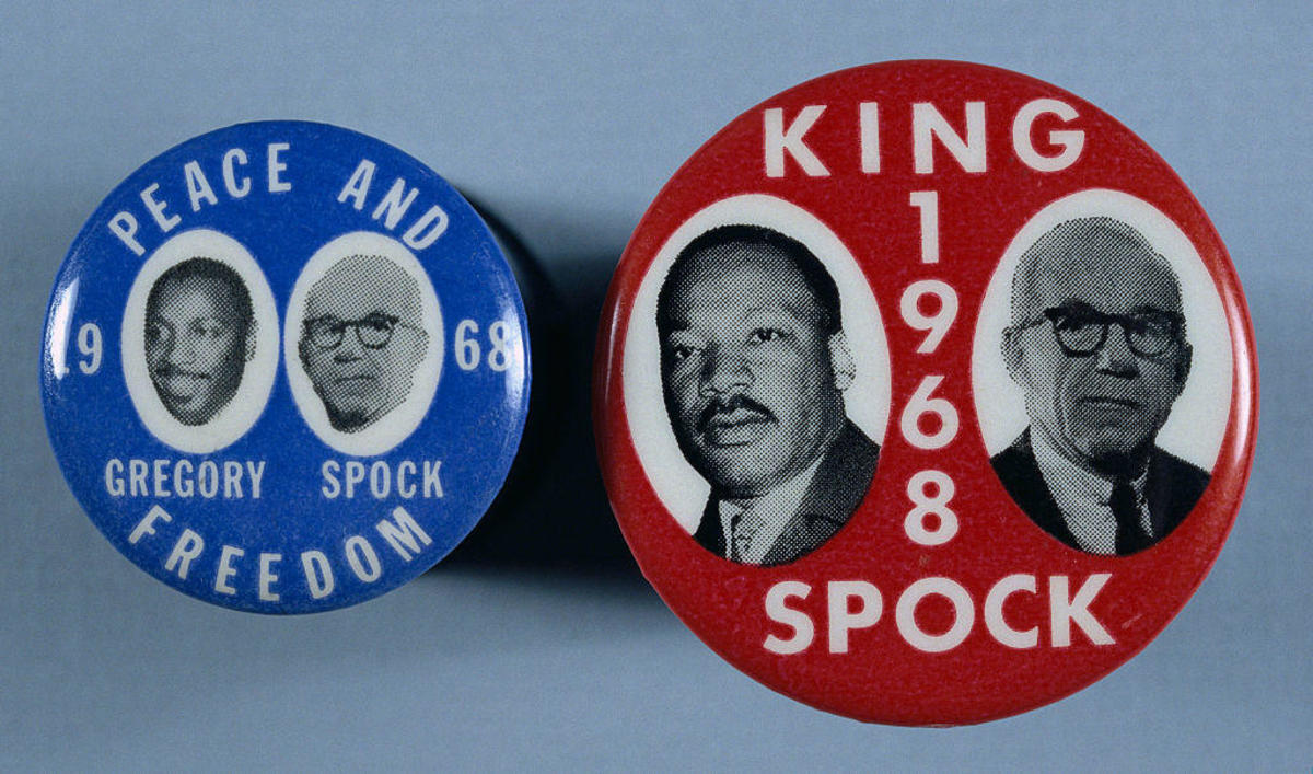 Campaign buttons in support of potential 1968 running mates for Dr. Benjamin Spock. On the left, Spock is featured with comedian and activist Dick Gregory, and Spock is paired with Martin Luther King Jr.