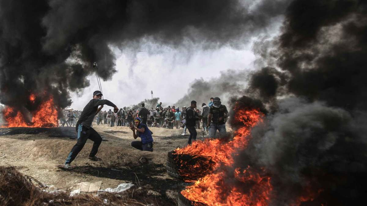 Protesters in Gaza