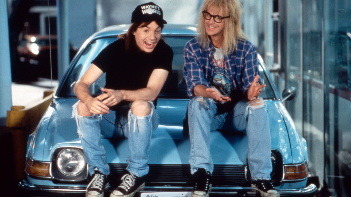 Mike Myers and Dana Carvey as Wayne and Garth from Wayne's World.