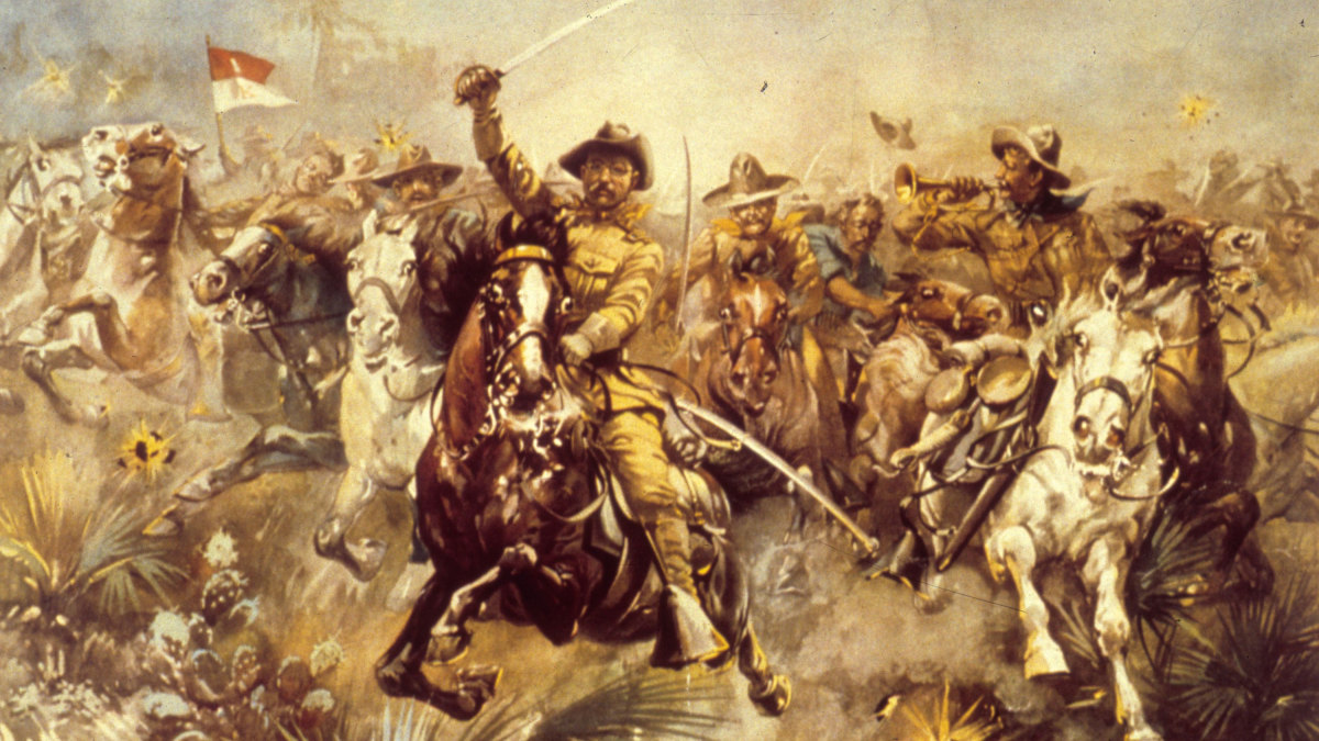 Theodore Roosevelt leading the Rough Riders unit during the Spanish American War.