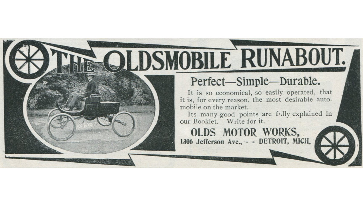 Advertisement for the Oldsmobile Runabout by the Olds Motor Works in Detroit, Michigan, 1901.