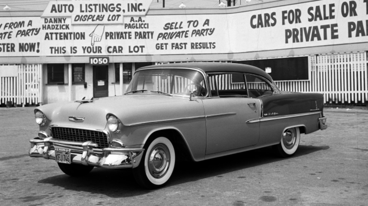 Two Tone 1955 Chevrolet Bel Air With Whitewall Tires In A Used Car Lot