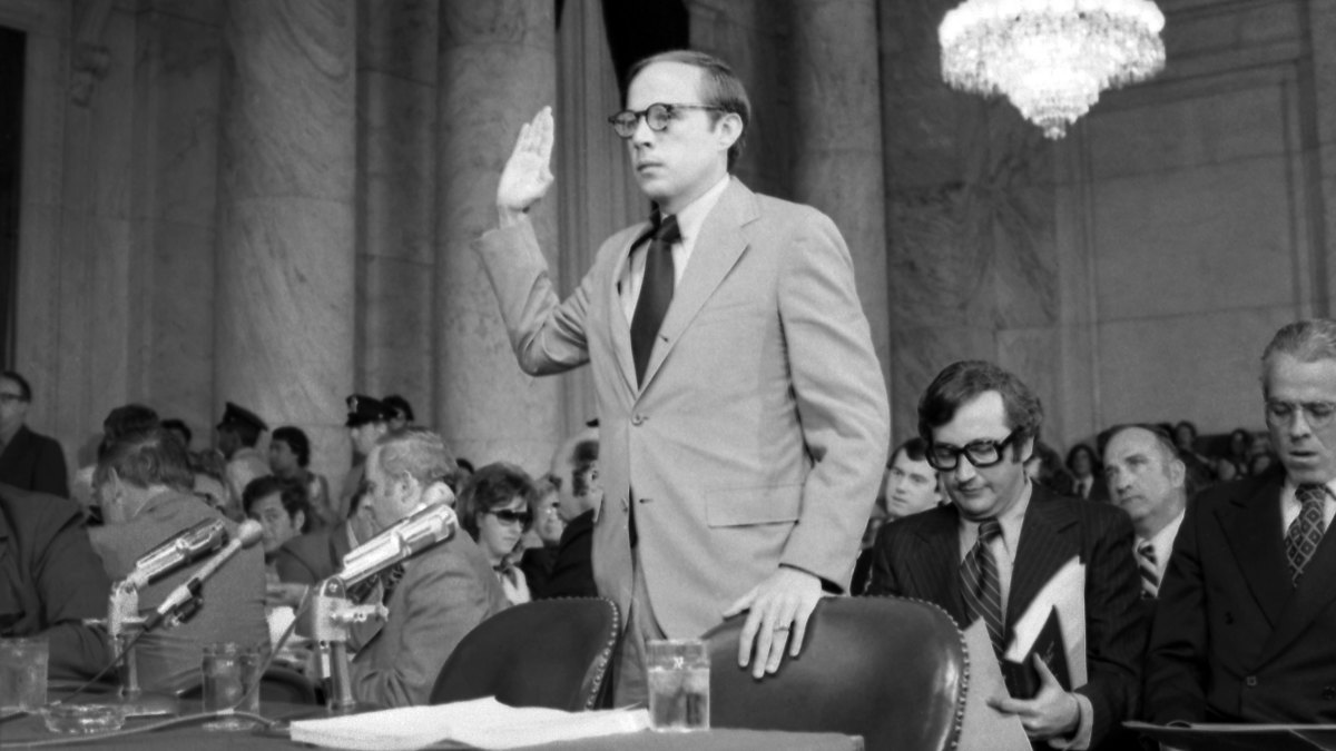 John Dean testifying for the second day before the Senate Watergate Committee. He said he was sure that President Nixon not only knew about the Watergate cover-up but also helped try to keep the scandal quiet.