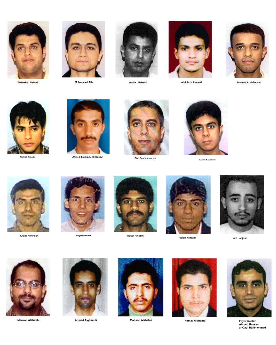 Photos of suspected 9/11 hijackers of American Airlines flight #11, United Airlines flight #93, American Airlines flight #77 and United Airlines flight #175.