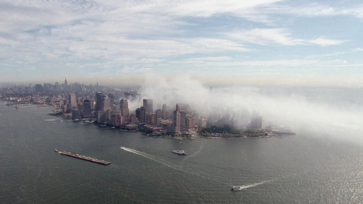 Smoke rises from the site of the World Trade Center after the September 11, 2001 terrorist attacks.