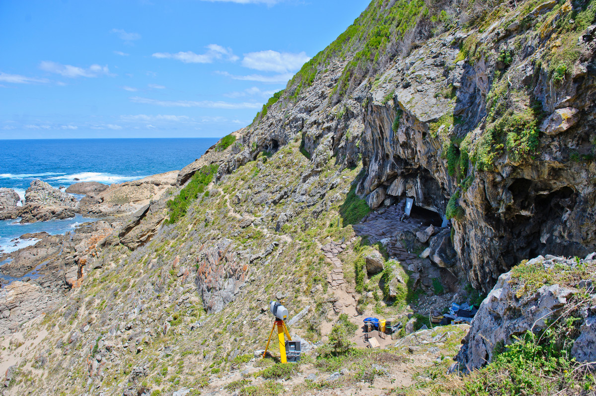 The outside of Blombos Cave in South Africa.