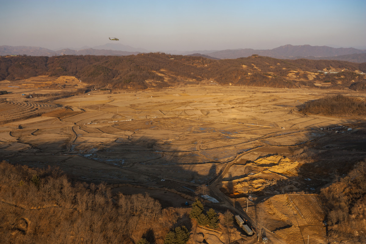 An aerial view of the Korean DMZ in the Chorwon District, where Francis P. Wall saw the UFO.