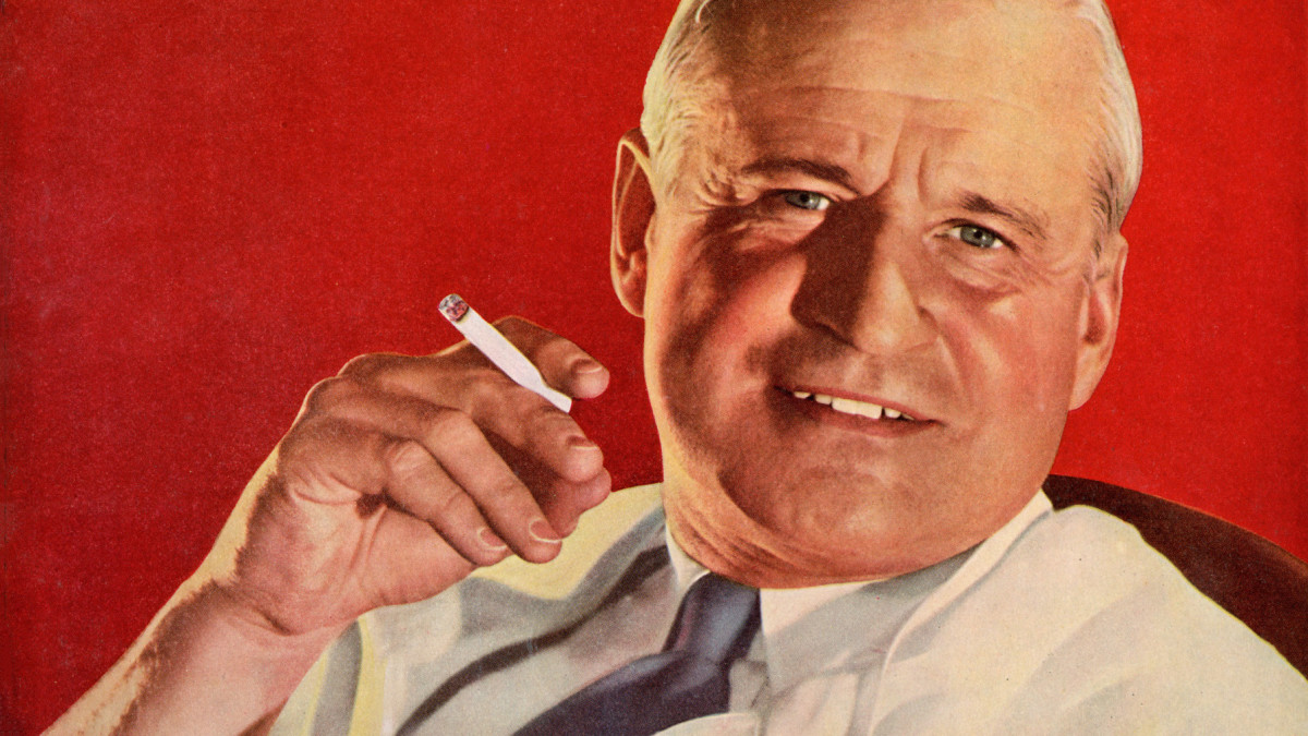 A close-up of a 1946 ad declaring that 'More doctors smoke Camels than any other cigaret