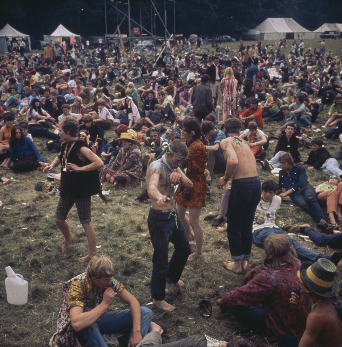 Hippies dancing at a 'Love-In' at the Festival of the Flower Children in the summer of 1967.