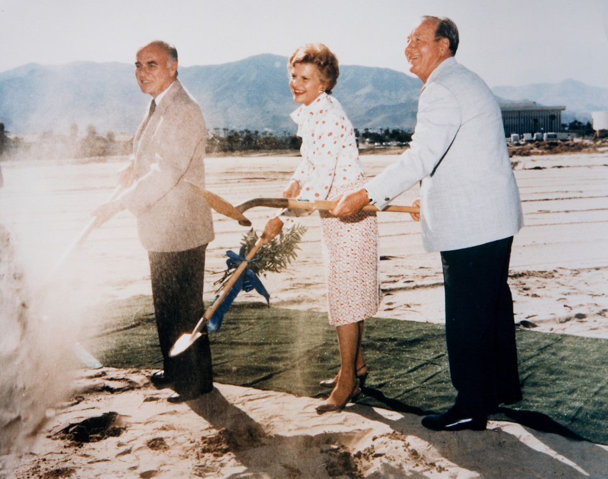Betty Ford      Dr. Joe Cruse, Betty Ford, and Leonard Firestone break ground for the Betty Ford Center.