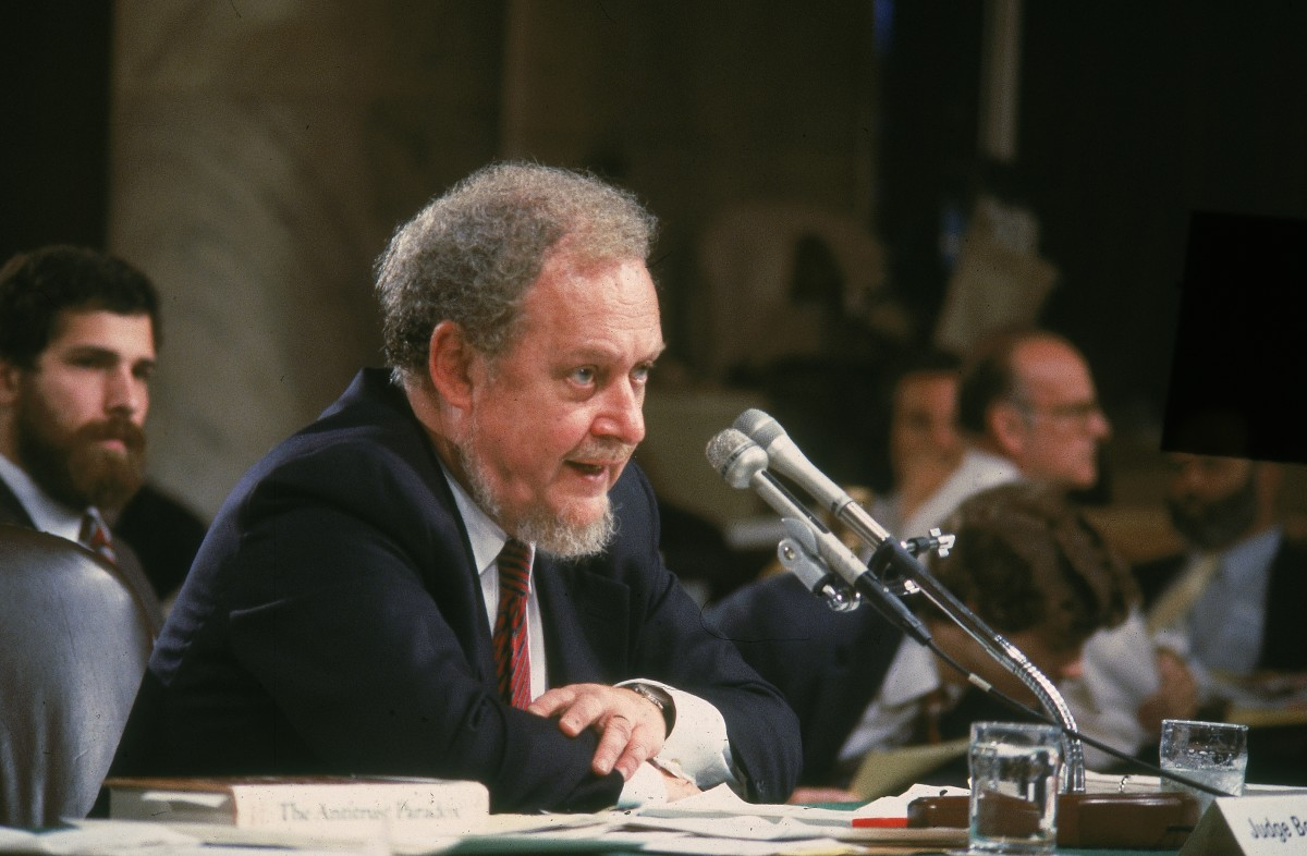 Reagan nominee for the Supreme Court, Judge Robert Bork, testifies on the fourth day of his Supreme Court confirmation hearing in Washington D C. Bork was rejected by the Senate.