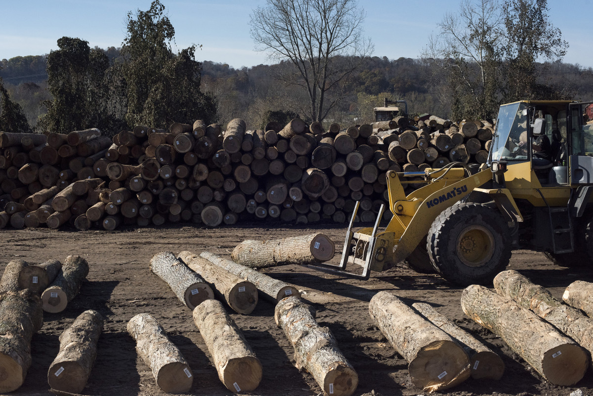 A West Virginia employee moving logs at the Cyblair Sawmill in 2017. Lumber prices were trading at a 13-year high amid rising demand for housing and as the threat of U.S. tariffs on softwood imports from Canada sparks supply concerns.