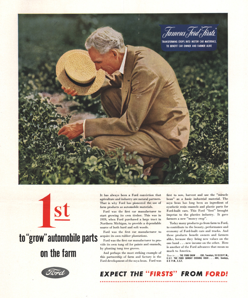 A 1946 Ford advertisement describing Ford's commitment to using agricultural products for industrial use.