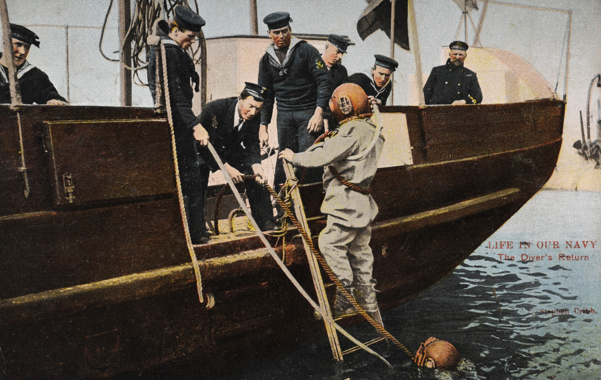 A vintage postcard showing deep sea divers from the Royal Navy returning from training, circa 1905.