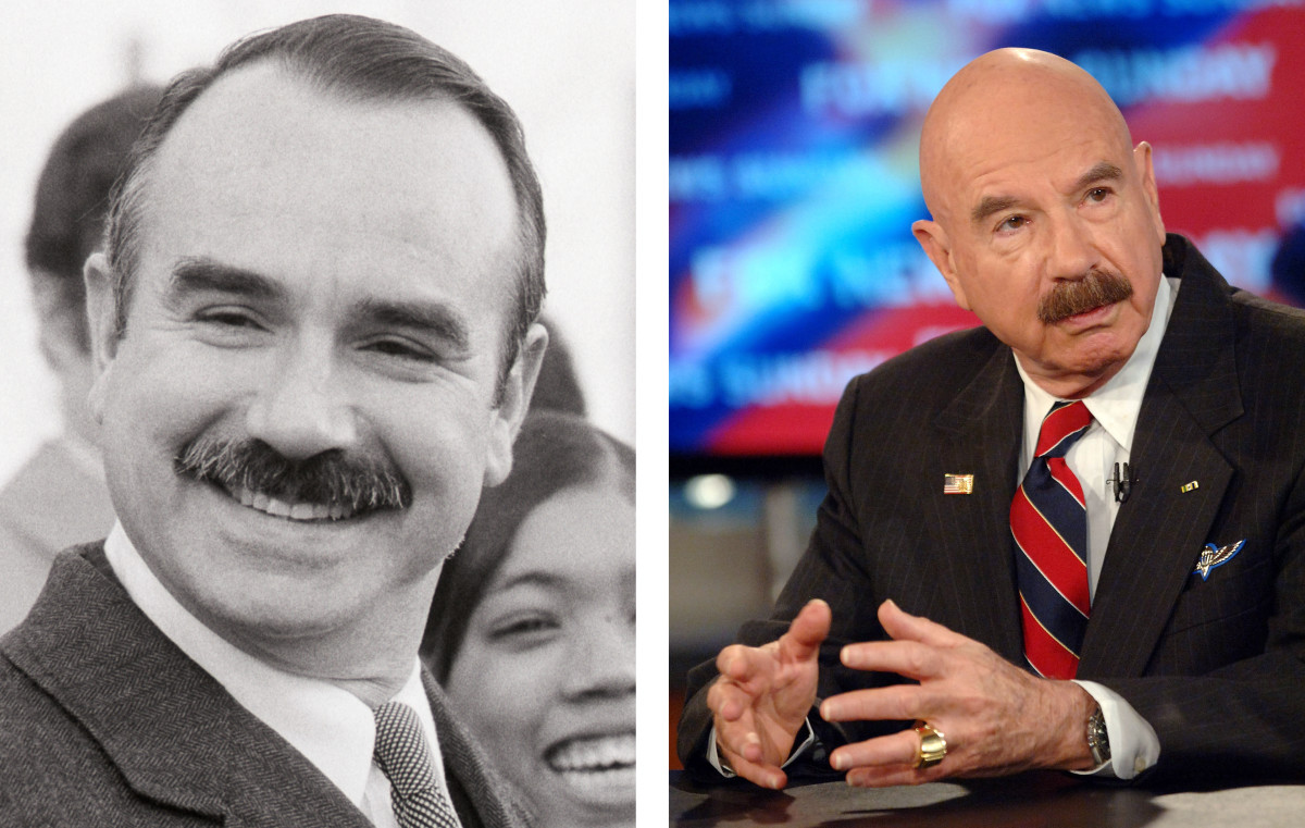 G. Gordon Liddy at the Watergate Trial in 1973 (left) and speaking on a segment of Fox News in 2005.