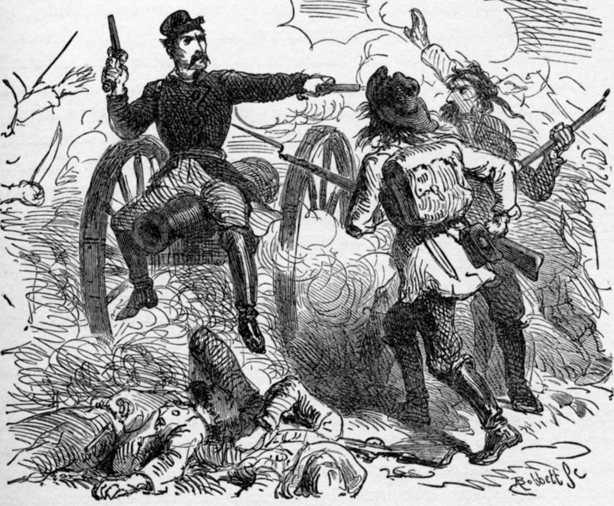 Mexican-American soldiers fighting off a Union General at the Battle of Valverde in 1862.