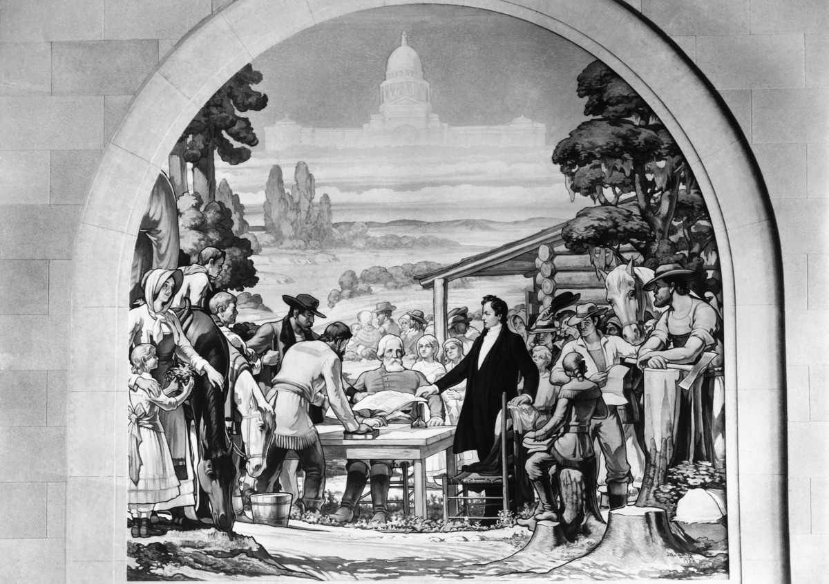 Mural of a gathering of colonists in 1823 on the Colorado River, where Stephen F. Austin, the 'Father of Texas' and Baron de Bastrop (seated), Land Commissioner of the Mexican Government, are issuing land to the colonists.