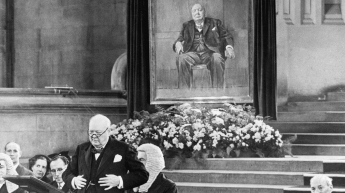 Churchill addresses parliament after receiving the portrait of himself painted by Graham Sutherland as an 80th birthday gift.