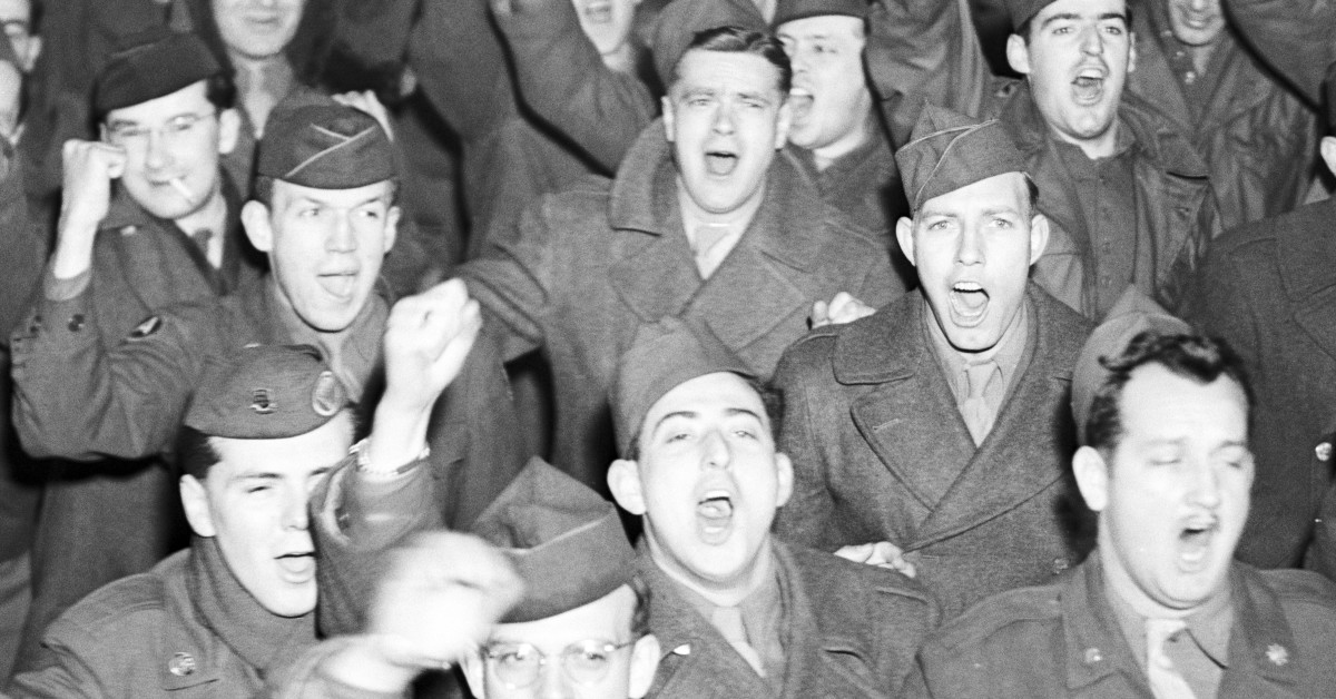 American soldiers who took part in the GI demonstrations shouting 'We want to go home!' January, 1946.