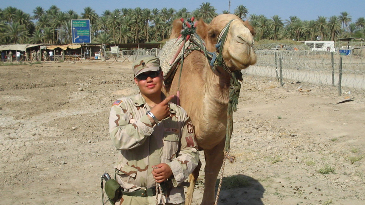 A.J. Luna, who served in the military police in Iraq, at his base, Camp Scalia, in July 2004.