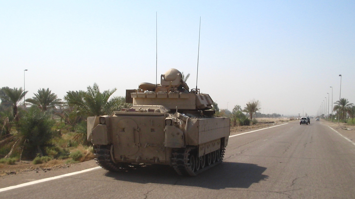 A tank on the MSR (main supply route) Tampa, Iraq's primary north-south artery. Luna had two harrowing near-misses while serving on supply convoys.