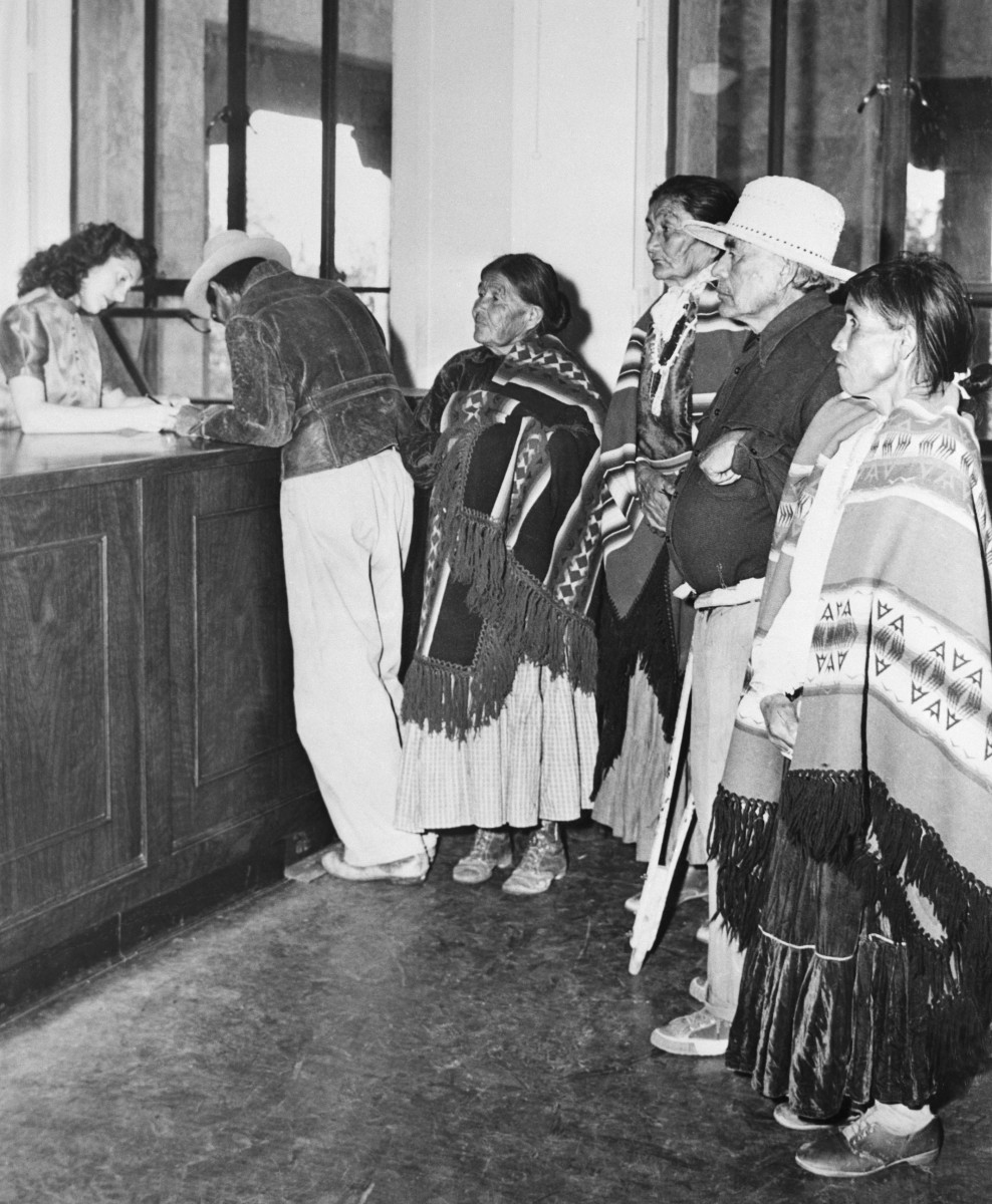 Native Americans registering to vote circa 1948.