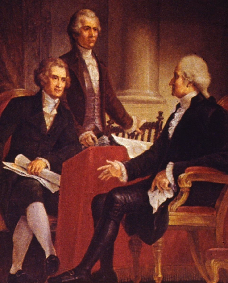 George Washington (seated right) in consultation with Thomas Jefferson (seated left) and Alexander Hamilton.