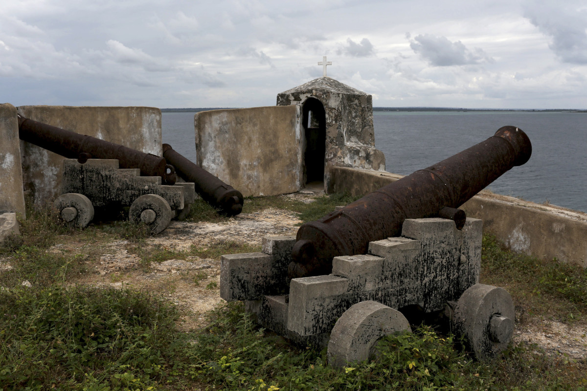 Old cannons atop a wall of a Portuguese-built fortress on Mozambique Island, a major slave trading port in colonial times, in Mozambique where remnants of the slave ship Sao Jose Paquete Africa were found.