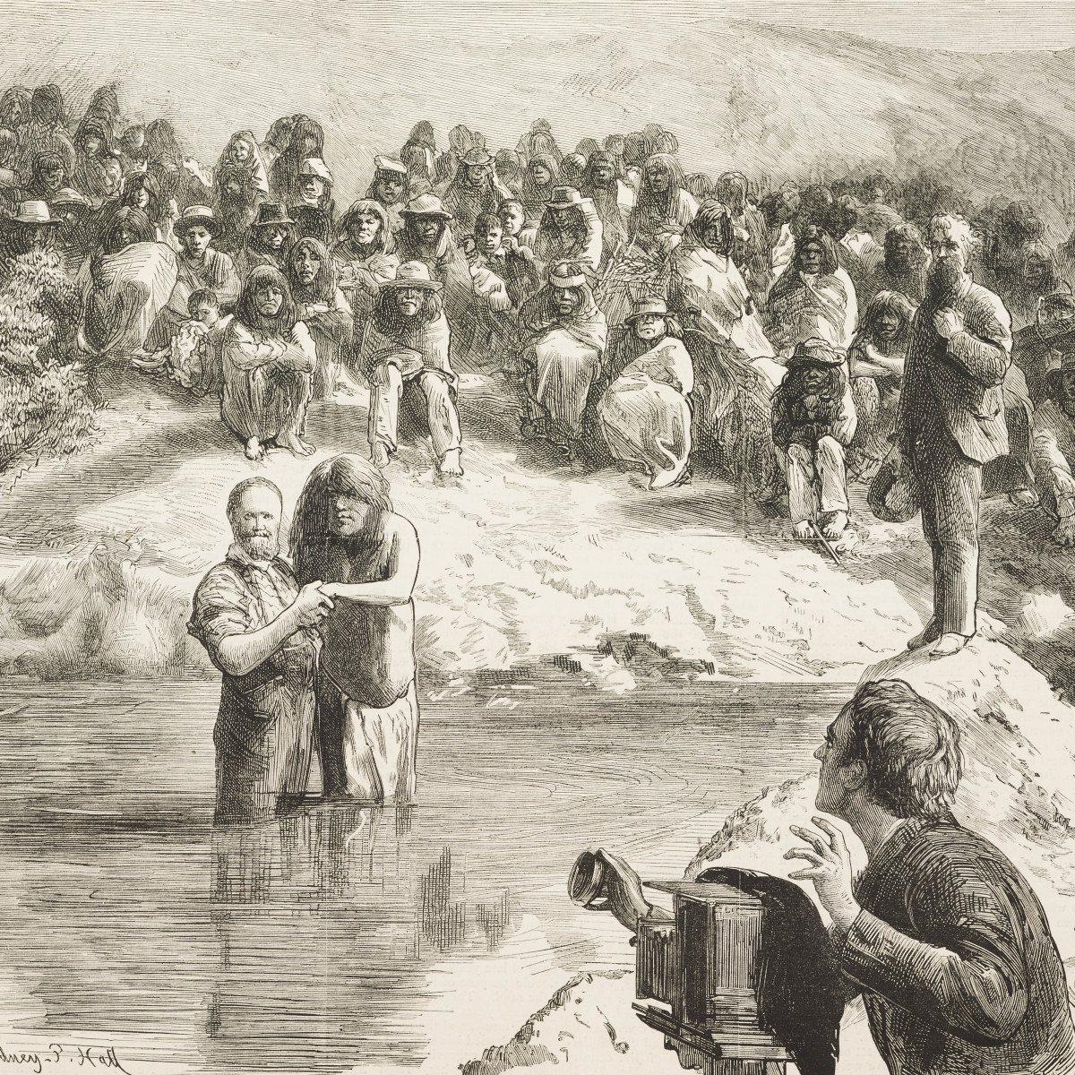 An 1882 illustration of Mormon men baptizing a large group of Native Americans.