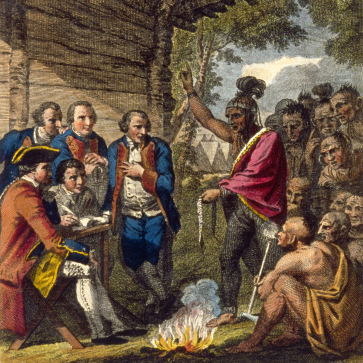 An illustration of Ottawa Chief, Pontiac confronting Colonel Henry Bouquet who authorized his officers to spread smallpox amongst native Americans by deliberately infecting blankets after peace talks.