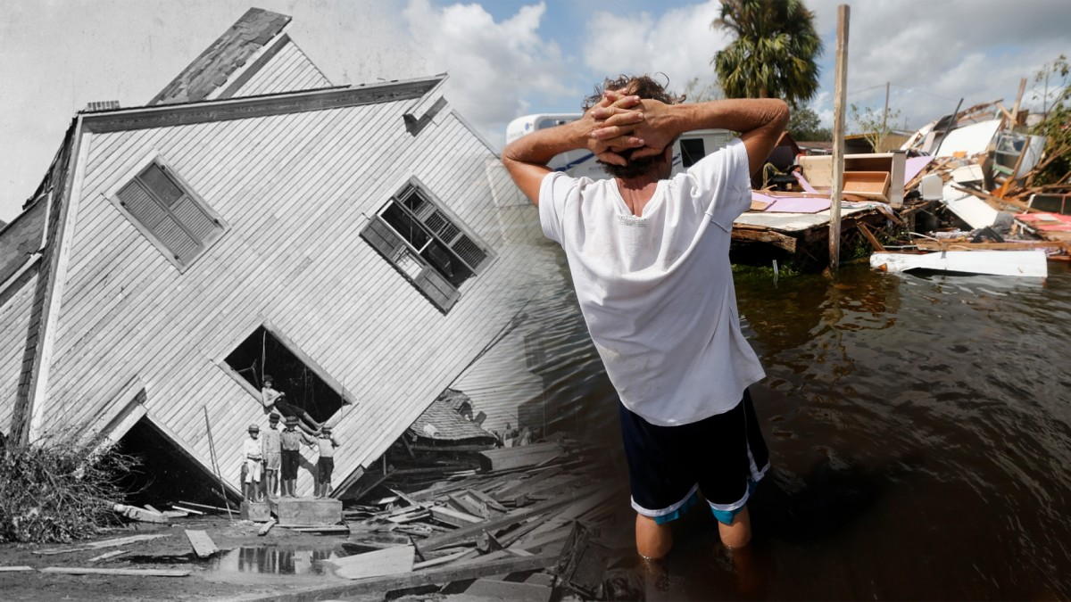 A house moved by the Galveston disaster. (Credit: The Library of Congress); Larry Dimas walk around his destroyed trailer in Immokalee, Florida after Hurricane Irma. (Credit: Gerald Herbert/AP Photo)