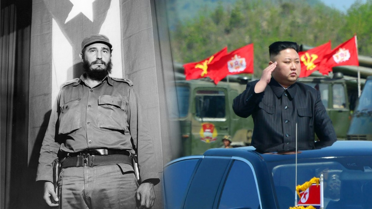 Fidel Castro, 1964. (Credit: Jung/ullstein bild via Getty Images); North Korean leader Kim Jong-Un (C) attending the combined fire demonstration of the services of the Korean People's Army in celebration of its 85th founding anniversary at the airport of eastern front. (Credit: STR/AFP/Getty Images)