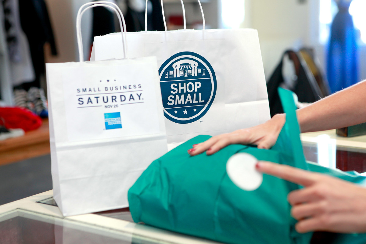 Supporting locally owned stores on Small Business Saturday, founded by American Express, in Los Angeles, 2011.
