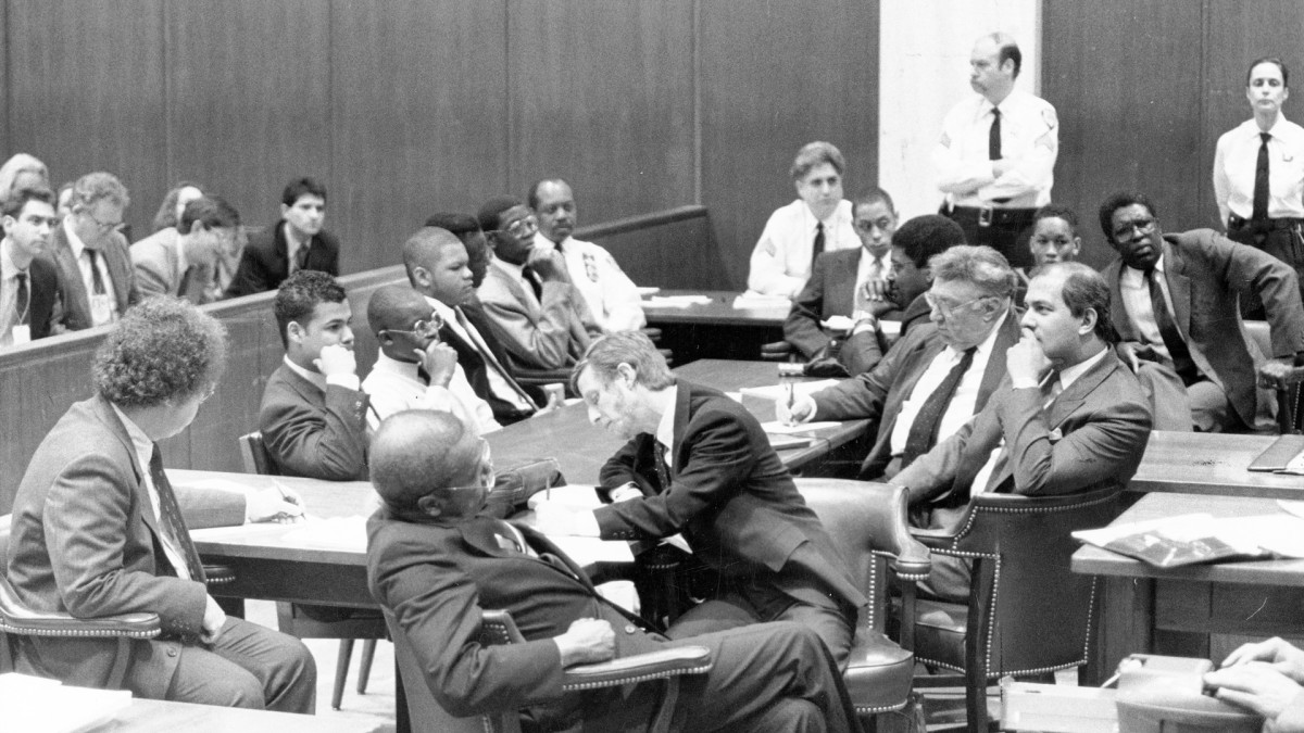The five defendants in the Central Park jogger case, behind the table, in court in New York, February 23, 1990.