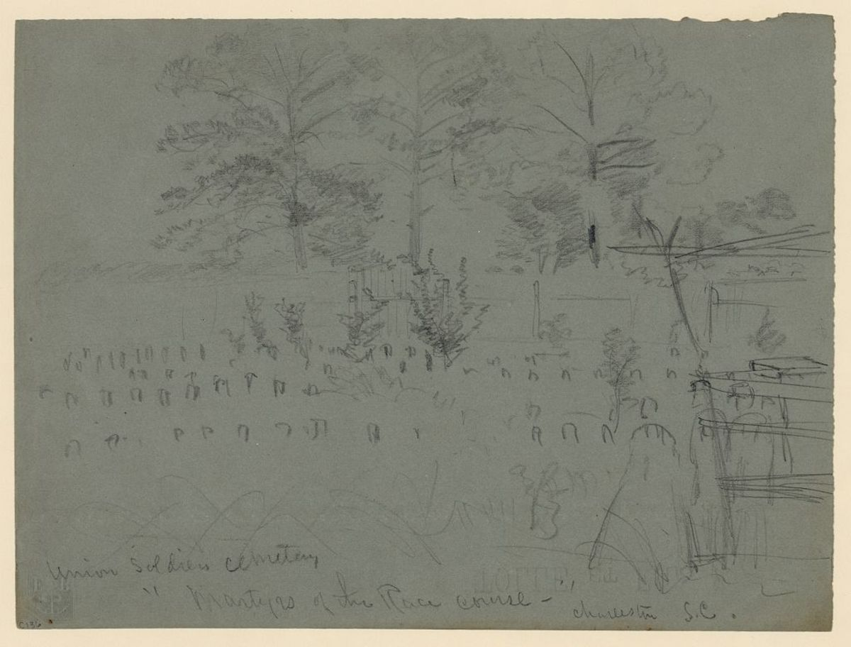 "A sketch of the Union Soldiers cemetery, reading the ""Martyrs of the Race course,"" in Charleston, South Carolina."