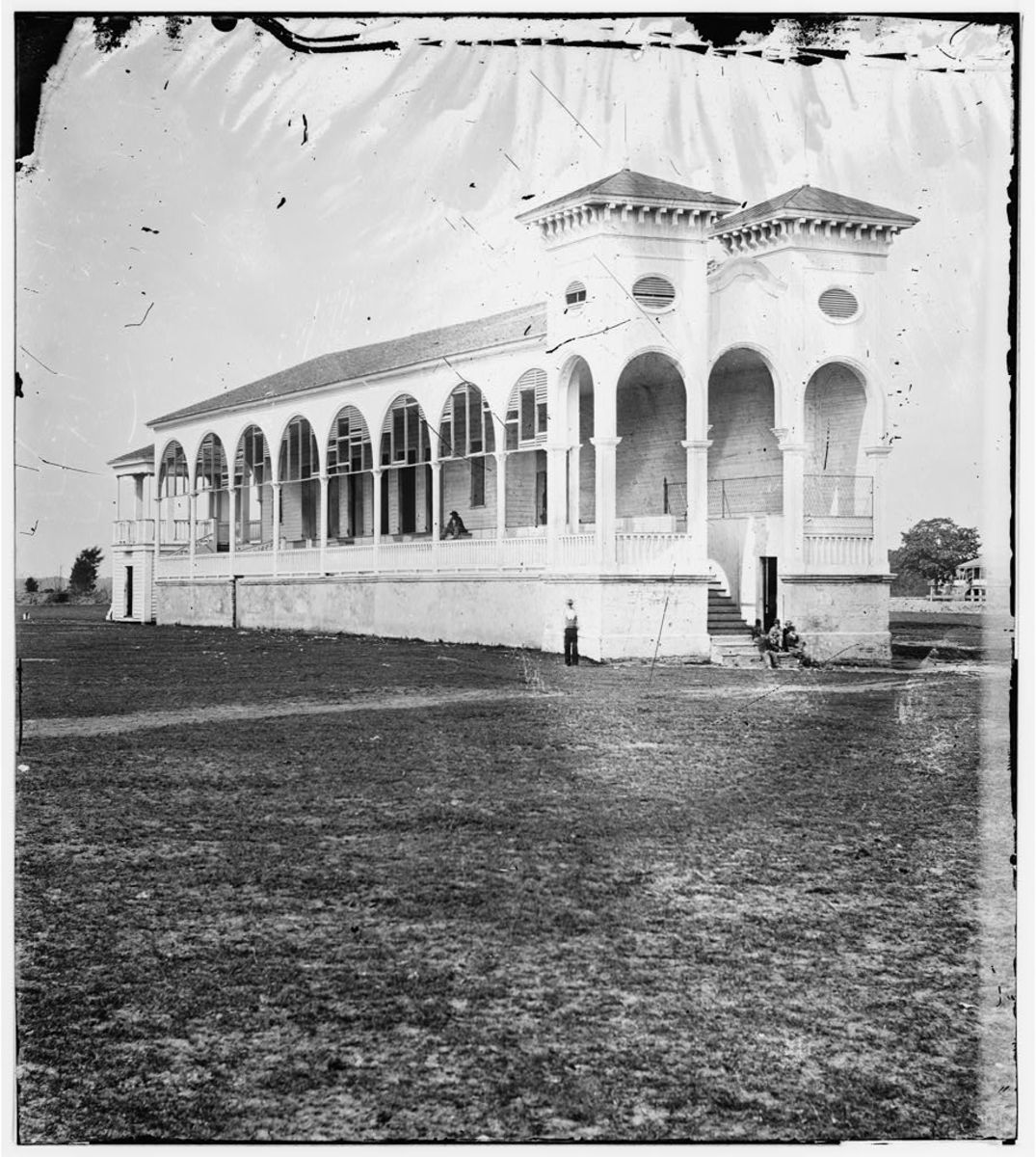 The clubhouse at the Charleston racetrack where the 1865 Memorial Day events took place.
