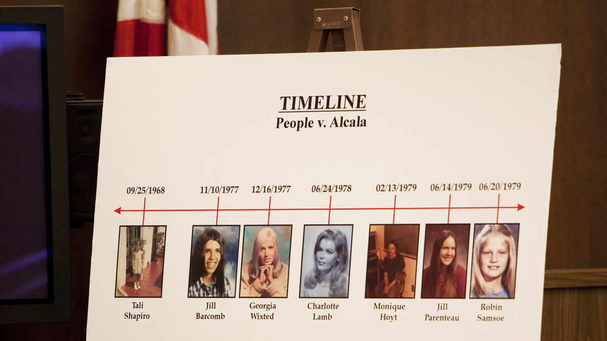 Timeline of Alcala's murder spree shown in the courtroom during his trial in 2010.