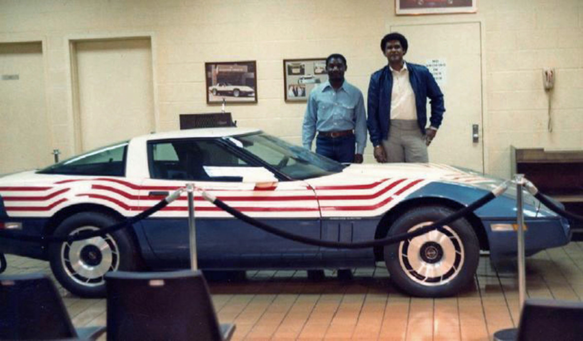 The 1983 Corvette when it had its American flag motif paint job.