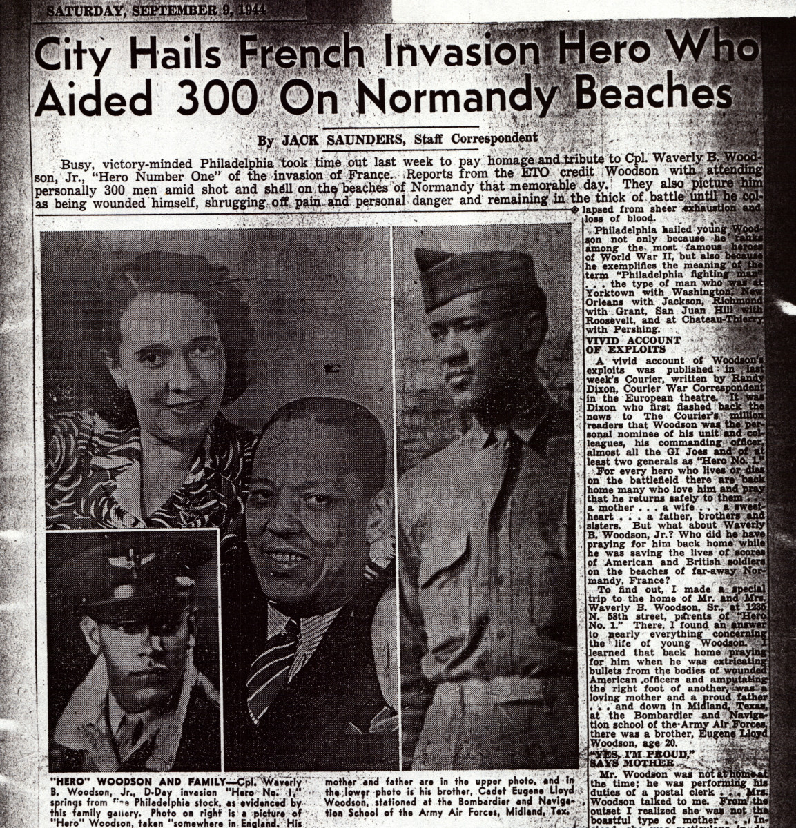 Waverly Woodson, Jr. was hailed as a hero by newspapers after D-Day in 1944.
